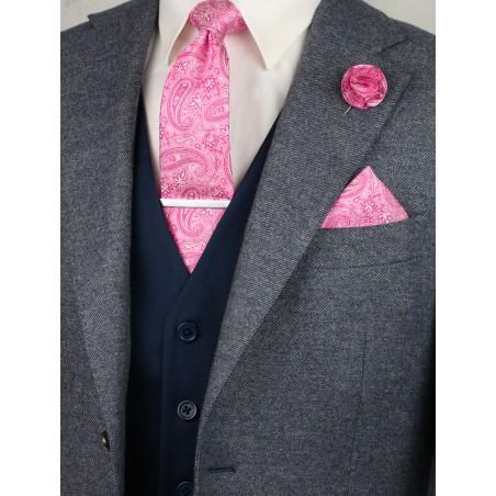 Matching geranium paisley necktie and pocket square
