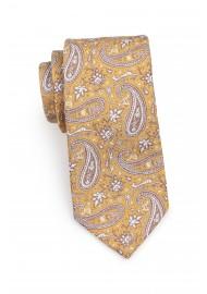 Standard length caramel paisley necktie