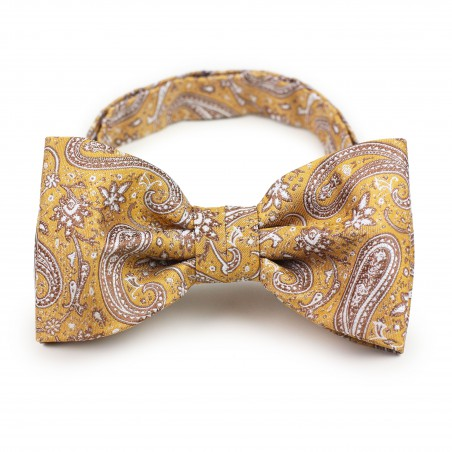 Caramel gold paisley pre-tied bow tie