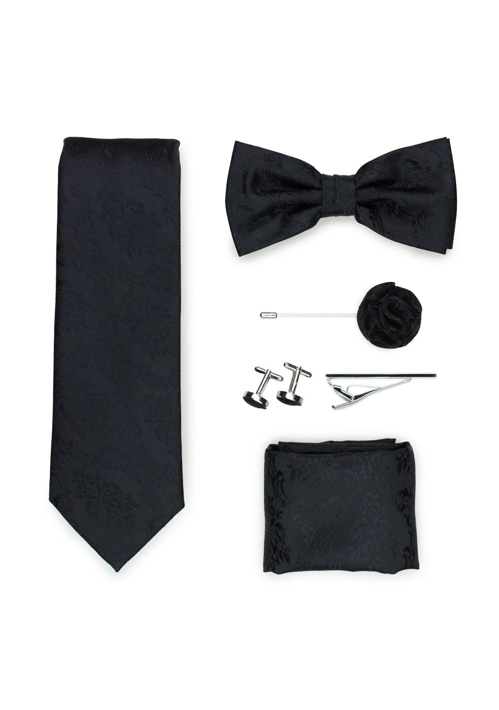 Wedding groomsmen gift set in black paisley