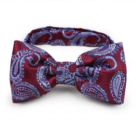 Burgundy paisley pre-tied bow tie