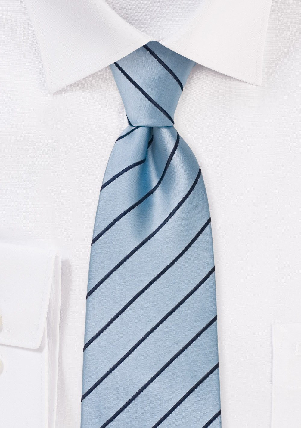 Light Blue Kids Necktie with Navy Stripes
