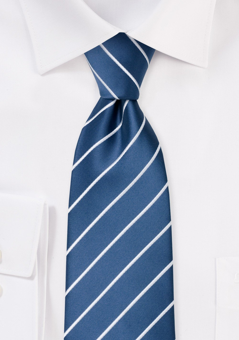 Modern striped ties - Royal blue necktie with fine white stripes