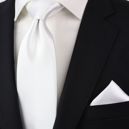 solid bright white necktie styled