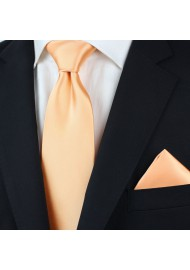 Apricot neckties - Solid apricot-orange tie styled