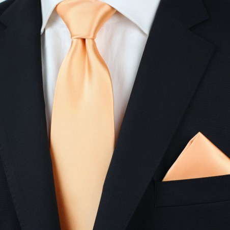 Solid Apricot-Orange Tie in XL Styled