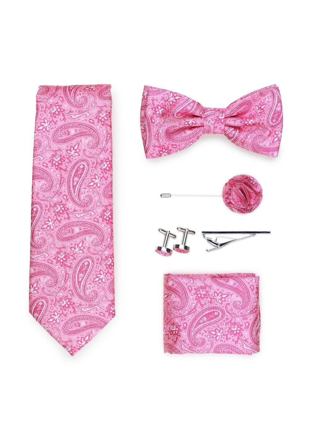 flamingo pink paisley necktie set