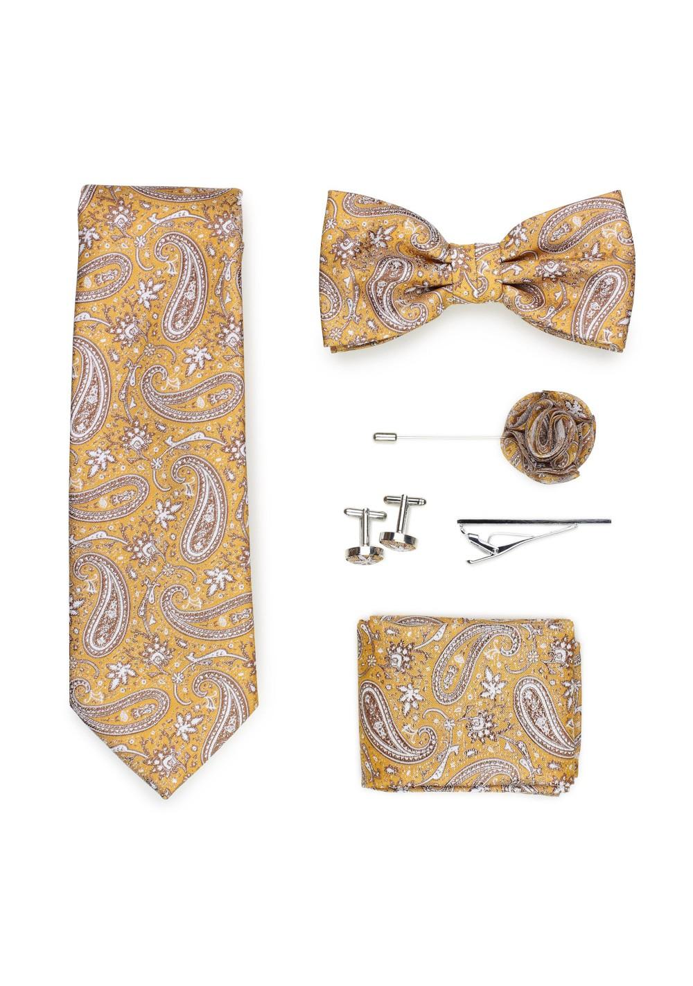 golden paisley necktie gift set