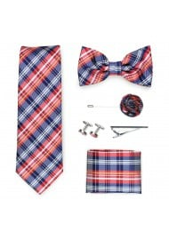 plaid tie gift menswear set