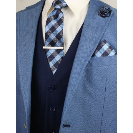 gingham check tie in blue