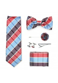 madras plaid menswear tie gift set