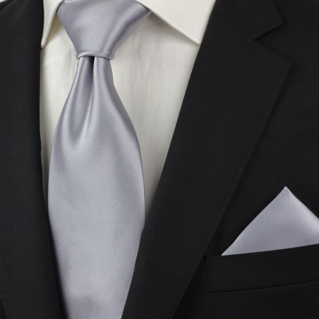 Solid Silver Tie for Kids Styled