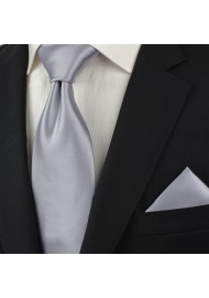 Extra long ties - Solid silver XL necktie styled