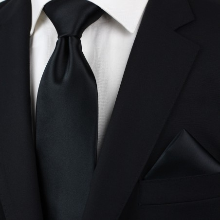 Extra long black tie - Formal XL necktie in black styled