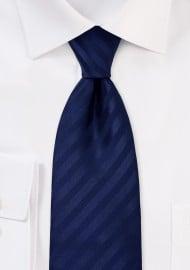 Solid Dark Blue Striped Tie in XL Length