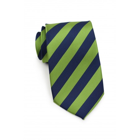 Citrus Green and Navy Striped Tie in XL Length