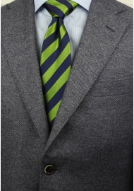 Citrus Green and Navy Striped Tie in XL Length Styled