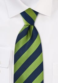 Citrus Green and Navy Striped Tie for Kids