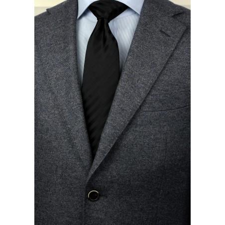 Classic black tie - Stain resistant Microfiber necktie in solid black styled