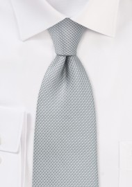 Xl Length Silver Tie with Micro Diamond Checks