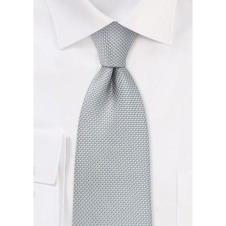 Xl Length Silver Tie with Micro Diamond Checks