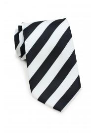 XL Black and White Striped Tie