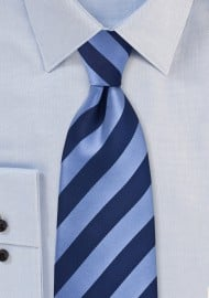 Classic Striped XL Length Tie in Blue