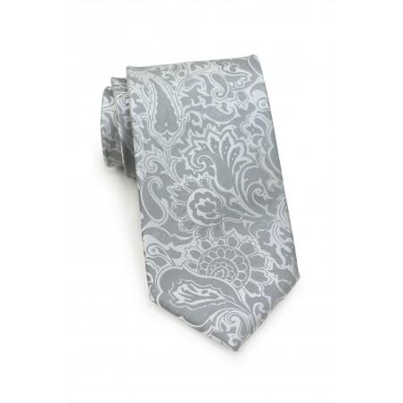 Silver Paisley Tie in XL
