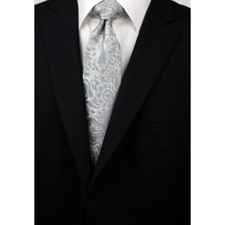 Silver Paisley Tie in XL Styled