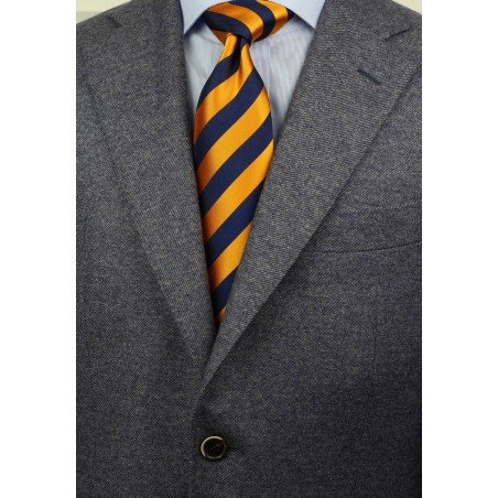 Regimental Orange and Navy Tie Styled