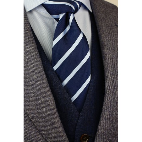Navy Blue and Light Blue Striped Tie Styled