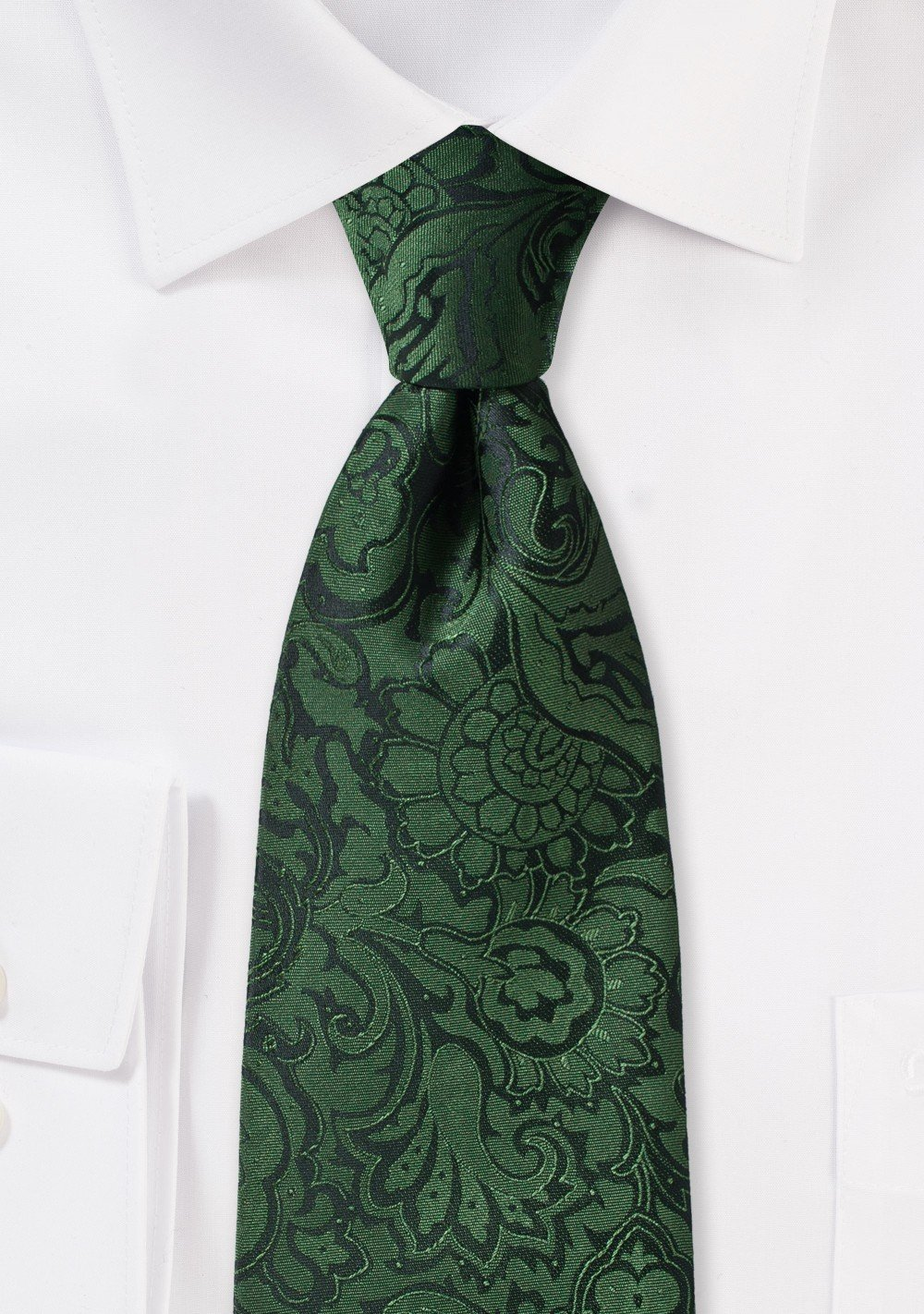 Forest Green and Black Paisley Tie