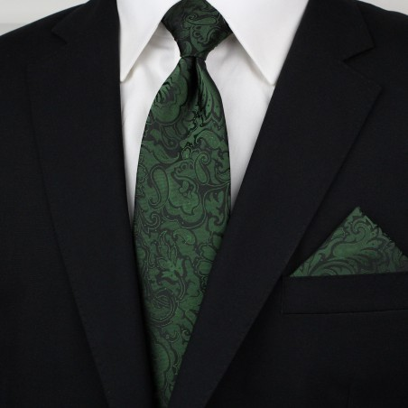 Forest Green and Black Paisley Tie Styled