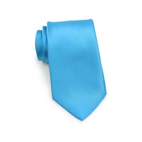 Solid Cyan Blue Tie in XL