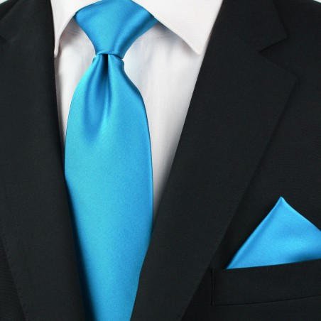Solid Cyan Blue Tie in XL Styled