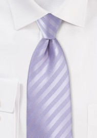 Extra Long Striped Tie in French Lavender