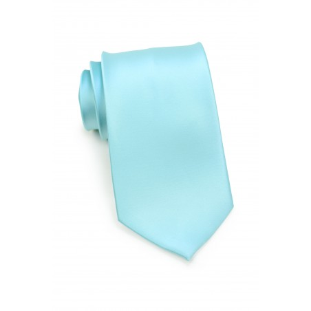Light Turquoise Blue Kids Length Tie