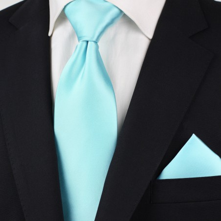 Light Turquoise Blue Kids Length Tie Styled