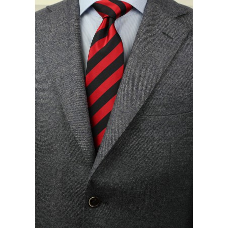 Red and Coal Black Striped Tie Styled