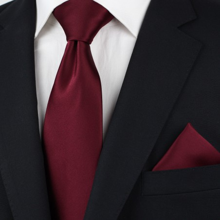Wine Red Kids Tie in Solid Satin Styled