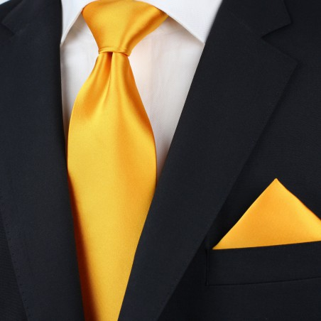 Men's Tie in Golden Saffron Styled