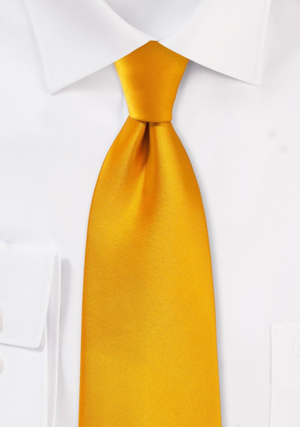 Kids Neck Tie in Golden Saffron