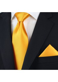 Extra Long Tie in Golden Saffron Styled