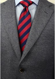 Navy and Cherry Striped Tie Styled