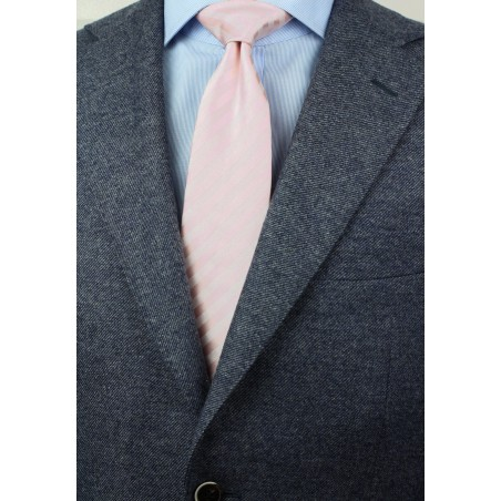 Solid Striped Tie in Blush Pink Styled