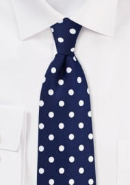 Navy Tie with Large White Polka Dots