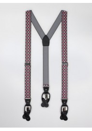Gray and Pink Floral Suspenders
