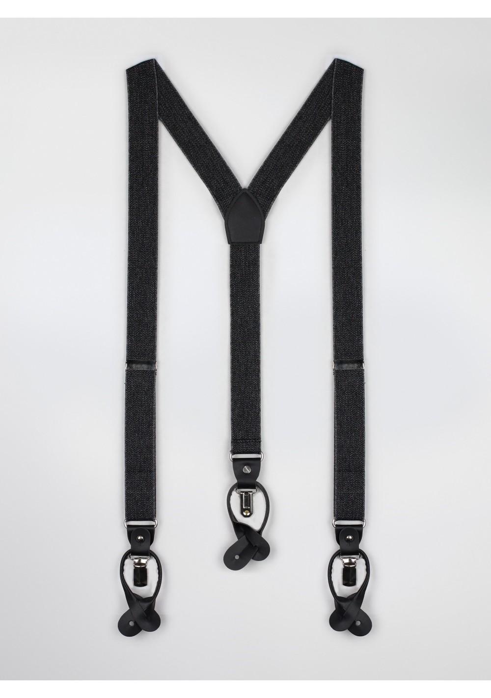 smoke charcoal gray elastic band suspenders