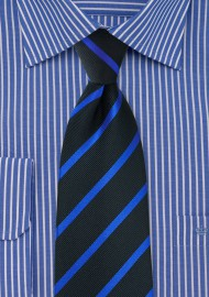 Kids Tie in Black with Blue Stripes