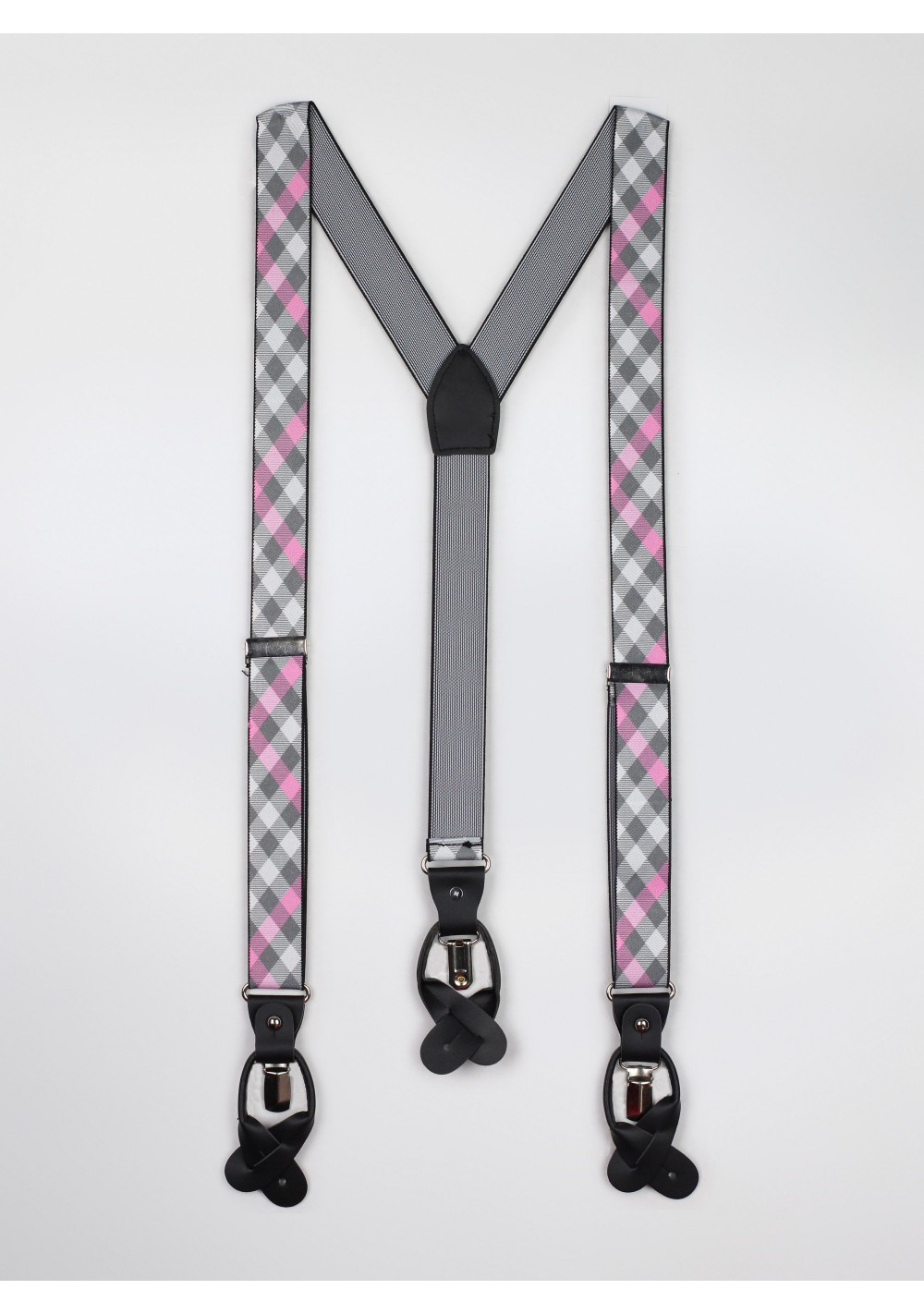 pink and gray check mens suspenders